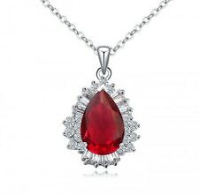 GORGEOUS 18K WHITE GOLD GP & GENUINE CZ & AUSTRIAN CRYSTAL RUBY RED NECKLACE