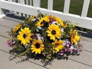 Yellow Sunflowers Purple Wax Flower Babys Breath Silk Arrangement Centerpiece