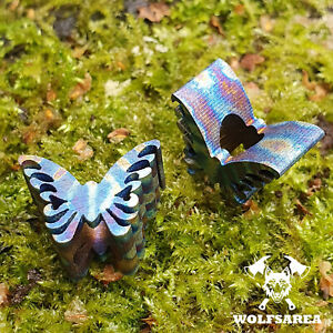 1 x Titanium Butterfly Tc4 Titan Beads Paracord Charms Lanyard Knife Edc