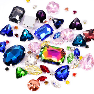 100 pcs Rhinestone Sew On Crystal Mixed Shape Color Glass Jewels