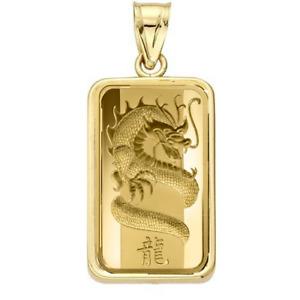 5 Gram Pamp Suisse .999 Dragon Bar Pendant 24MMX15MM Encased in 14k Gold