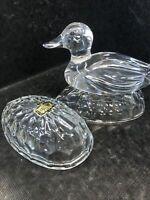 Vintage Crystal Zajecar 24% LEAD CRYSTAL GLASS TRINKET EGG & DUCK Yugoslavia