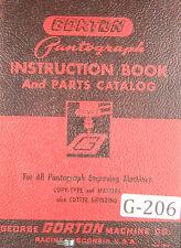 Gorton Pantograph Engraving Parts For All Machines Manual