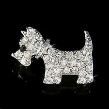 w Swarovski Crystal WESTIE Scottie ~SCOTTISH TERRIER~~ DOG Animal Pet Pin BROOCH