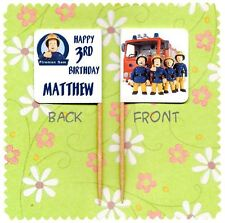 20 PERSONALISED FIREMAN SAM CUP CAKE FLAG Party Pick Topper Decoration Birthday