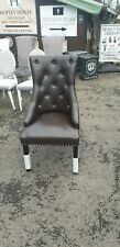 NEW BROWN FAUX LEATHER KNOCKER BACK DINING CHAIR (8 AVAILABLE)