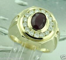 Huge 4.00 ct 14k Solid Yellow Gold Men's Natural Diamond & Oval Ruby Ring  USA