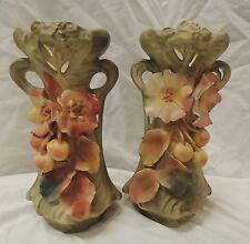 """19th Century Austrian Royal Dux amphora style fruit& flower design 10"""" Vases"""