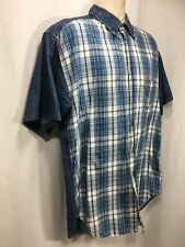 Mens Large Tall LT Jean Plaid Shirt Short Sleeve Button Up Shirt Blue White