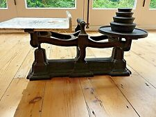 More details for h .webb & co cast iron heavy with marble effect weighing scale with 4 weights