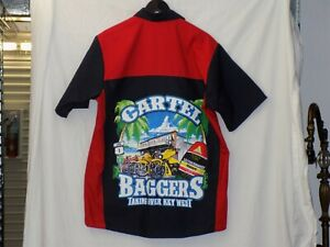 CARTEL Baggers Taking Over Key West Motorcycle button up shirt Mens Size Large