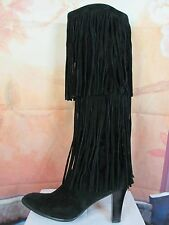 Victoria's Secret Colin Stuart Tall Black Suede Tiered Fringe Boots Size 10