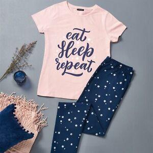 AVON Eat Sleep Repeat Long Cotton Pjs/Pyjamas size 12-14 New in Pack Gift?
