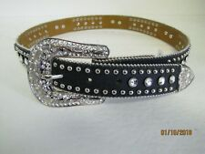Nwt Nocona Girls Black Western Belt Decorative Rhinestones Jewels Horses $32