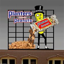 PLANTERS PEANUTS BILLBOARD ANIMATED SIGN FOR HO-SCALE  -LIGHTS, FLASHES & MORE!