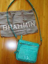 "Brahmin crossbody purse handbag teal aqua ""Cleo"" zippered organizer"