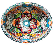#098 SMALL BATHROOM SINK 16x11.5 MEXICAN CERAMIC HAND PAINT DROP IN UNDERMOUNT