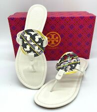 NIB $228 TORY BURCH Women's  Miller Logo Patent Leather Flat Slide Sandals 10.5M