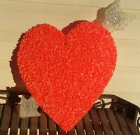 "Vintage Melted Plastic Popcorn Large Heart Valentines Day Decoration 14"" x 16"""