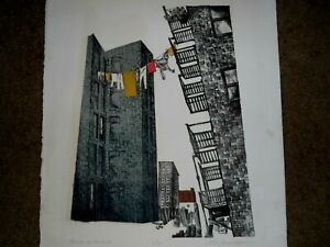 """DORIS YOCUM MARKLEY SIGNED LITHOGRAPH OF BUILDINGS TITLED """"MONDAY IN MELON ST."""""""