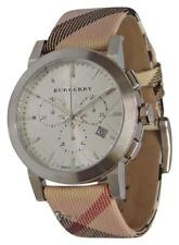 Burberry BU9357 Silver Dial City Nova Check Leather Strap Watch 42mm
