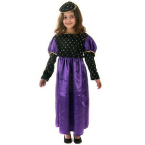 KIDS GIRLS RICH TUDOR COSTUME RENAISSANCE MEDIEVAL FANCY DRESS SCHOOL OUTFIT