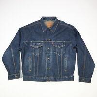 Vtg LEVIs 70507 Denim Blue Jean Trucker Jacket USA Made Grunge Mens LARGE