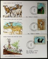 Z156 MAURITANIA 1978 WWF set of 3 FDC Animals, Barbary Sheep, Oryx, Dama Gazelle