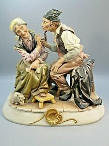 Arnart Creations Capodimonte Style Bisque Porcelain Figurine Old Couple Bruno