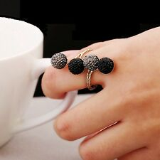 Fashion Women Girls Crystal Four Beans Ring Gold Silver Round Finger Ring New