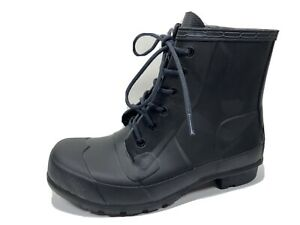 Hunter Black Lace Up Rain Boots Womens 9