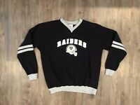 VTG NFL Oakland Raiders Sweater Sweatshirt Black + Silver + Gray Men's Medium M