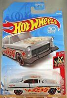 2018 Hot Wheels #300 HW Flames 2/10 '55 CHEVY Flat Gray w/Black MC5 Sp Red Rims