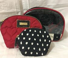 NEW Betsey Johnson Cosmetic Bags Shell 3 Pc Cosmetic Case Set - Red/Black/White