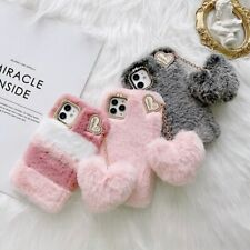 Warm Winter Fur Fluffy Plush Diamond Heart Soft Case Cover For iPhone Best Gift
