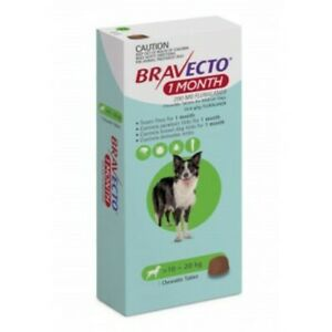 Bravecto Medium 10-20kg Green Dog 1 Month Chew Treatment 1 pack (1 month)