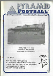 PYRAMID FOOTBALL Issue No.71 (Early 1992/93 Issue) cover picture Dulwich Hamlet