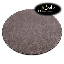 "MODERN thick CARPETS Round ""SAN MIGUEL"" brown plain one colour Best Quality Rugs"