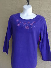 NWT JUST MY SIZE 1X COZY POLAR  FLEECE BEAD EMBELLISHED CREW NECK TOP