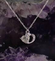 Halskette Herz Kette Herzanhänger creme 925 Sterlingsilber silver plated