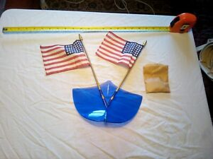 NOS vtg 1950s blue Sinko stars and stripes bug deflector with two 48-star flags