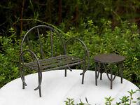 Miniature Dollhouse FAIRY GARDEN Furniture ~ Rustic Brown Metal Bench & Table