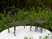 Miniature Dollhouse Fairy Garden Furniture ~ Rustic Brown Metal Bench & Table