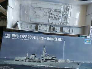 TRUMPETER HMS TYPE 23 FRIGATE-KENT (78) 1/350 SCALE MODEL KIT, STARTED.