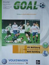 Programm Pokal 2000/01 VfL Wolfsburg - MSV Duisburg