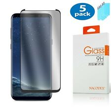 5x For Samsung Galaxy S8 [CASE FRIENDLY] 3D Full Cover Glass Screen Protector