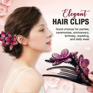 Rhinestone Double Flower Hair Clip Flexible Durable Women Dovetail Hair Clip*