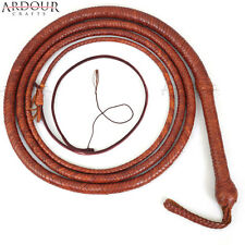 BULL WHIP 10 Feet 12 Plaits Cow Hide TAN Leather CUSTOM BULLWHIP Belly & Bolster