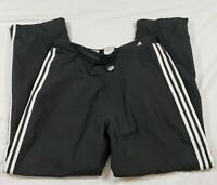 Adidas athletic pants lined zip ankles elastic waist mens size XL black white