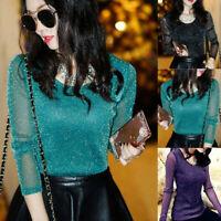 Women See Through Mesh Blouse Long Sleeve Shining Shirt Tops Blouse Fashion
